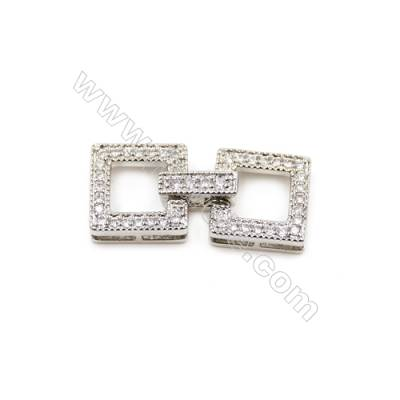 Brass Clasps  White Gold  CZ Micropave  Size 25x11mm  10pcs/pack