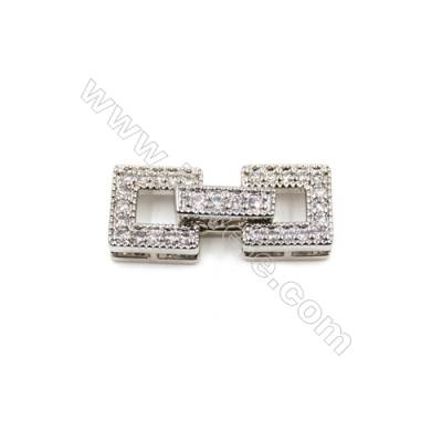 Brass Clasps  White Gold  CZ Micropave  Size 19x8mm  10pcs/pack