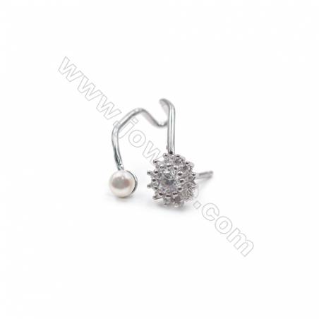 Platinum plated 925 sterling silver stud ear findings with zircon micro pave  fit for half drilled beads  13x19mm x 1pair