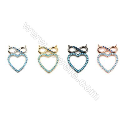 Brass Connectors, (Gold, Platinum, Rose Gold, Gun Black) Plated, Heart, CZ Micropave, Size 16x22mm, Hole 1mm, 10pcs/pack