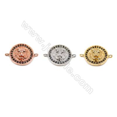 Brass Connectors, (Gold, Platinum, Rose Gold) Plated, Round, CZ Micropave, Size 13x18mm, Hole 1mm, 20pcs/pack