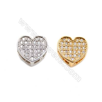 Brass Little Charms  (Gold Platinum) Plated  CZ Micropave  Heart  Size 7x8mm  20pcs/pack