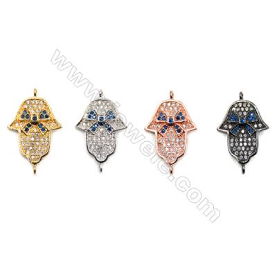 Brass Connectors, (Gold, Platinum, Rose Gold, Gun Black) Plated, Leaves, CZ Micropave, Size 15x24mm, Hole 1.5mm, 12pcs/pack