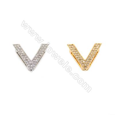 Brass Little Charms  (Gold Platinum) Plated  CZ Micropave  V  Size 14x17mm  Hole 1.5mm  12pcs/pack