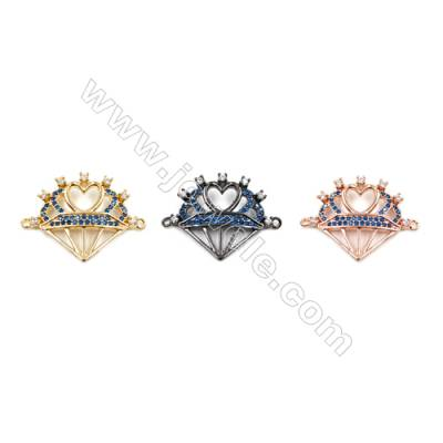 Brass Connectors, (Gold, Rose Gold, Gun Black) Plated, Heart, CZ Micropave, Size 20x26mm, Hole 1.5mm, 12pcs/pack