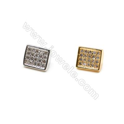 Brass Little Charms  (Gold Platinum) Plated  CZ Micropave  Rectangle  Size 7x8mm  20pcs/pack