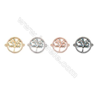 Brass Connectors, (Gold, Platinum, Rose Gold, Gun Black) Plated, Round, CZ Micropave, Size 20x24mm, Hole 1.5mm, 12pcs/pack