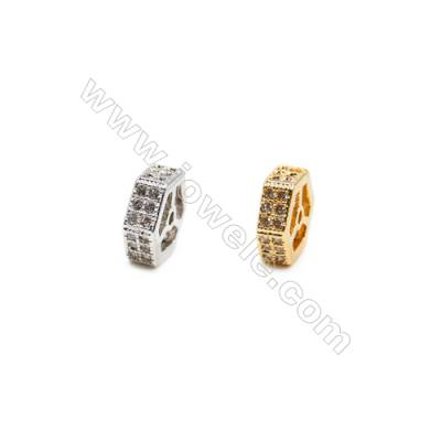 Brass Spacer Beads  (Gold Platinum) Plated  CZ Micropave  Size 8x9mm  Hole 0.8mm  15pcs/pack
