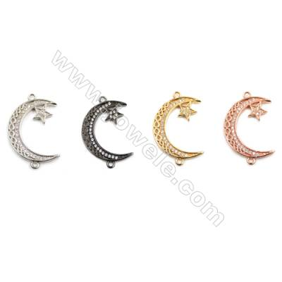 Brass Connectors, (Gold, Platinum, Rose Gold, Gun Black) Plated, Moon, CZ Micropave, Size 17x28mm, Hole 1.5mm, 20pcs/pack
