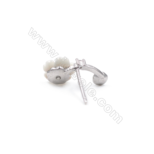 Jewelry flower findings platinum plated 925 silver earring components for half drilled beads zircon micro pave  8x14mm x 1pair