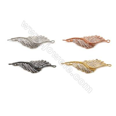 Brass Connectors, (Gold, Platinum, Rose Gold, Gun Black) Plated, Leaves, CZ Micropave, Size 10x38mm, Hole 1.5mm, 10pcs/pack