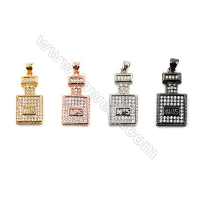 Brass Pendants  (Gold Platinum Rose Gold Gun Black)Plated  CZ Micropave  Perfume Bottle  Size 22x13mm  10pcs/pack