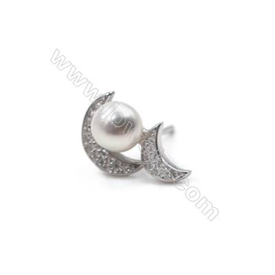 925 sterling silver platinum plated ear stud findings with zircon micro pave  fit for half drilled beads  10x15mm x 1pair