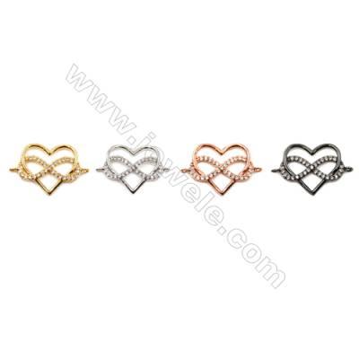 Brass Connectors, Heart, CZ Micropave, Size 15x22mm, Hole 1.5mm, 20pcs/pack