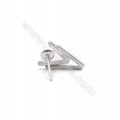 V design platinum plated sterling silver ear stud findings zircon micro pave  fit for half drilled beads  11x16mm x 1pair