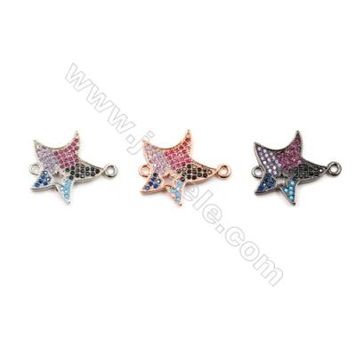 Brass Connectors, (Platinum, Rose Gold, Gun Black) Plated, Star, CZ Micropave, Size 17x21mm, Hole 1.5mm, 10pcs/pack