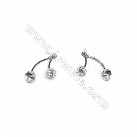 CZ micro paved jewelry findings platinum plated 925 silver ear stud components  fit for half drilled beads  5x19mm x 1pair