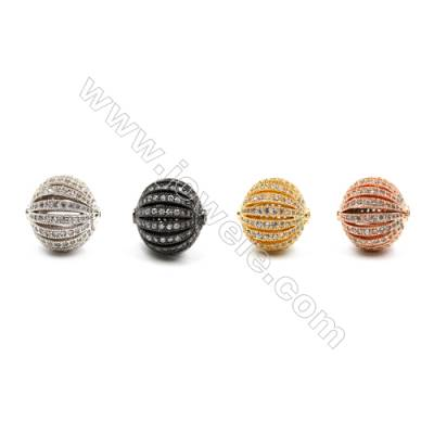 Brass Beads, (Gold, Platinum, Rose Gold, Gun Black) Plated, CZ Micropave, Lantern, Diameter 15mm, Hole 1.5mm, 4pcs/pack