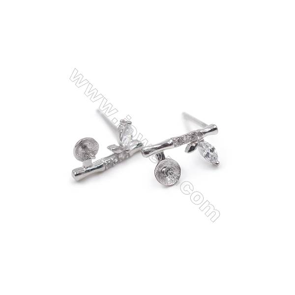 Zircon micro paved earring findings platinum plated 925 sterling silver studs  fit for half drilled beads  6x11mm  x 1pair
