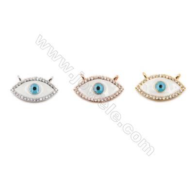 Brass Connectors, (Gold, Platinum, Rose Gold) Plated, Eyes, CZ Micropave, Size 12x21mm, Hole 1.5mm, 12pcs/pack