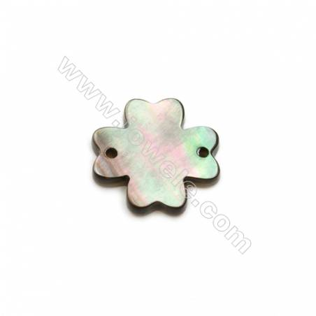 Gray clover mother-of-pearl shell, 12mm, hole 0.8mm, 30pcs/pack