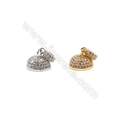 Brass Pendants  (Gold Platinum)Plated  CZ Micropave  Hat  Size 5x12mm  6pcs/pack