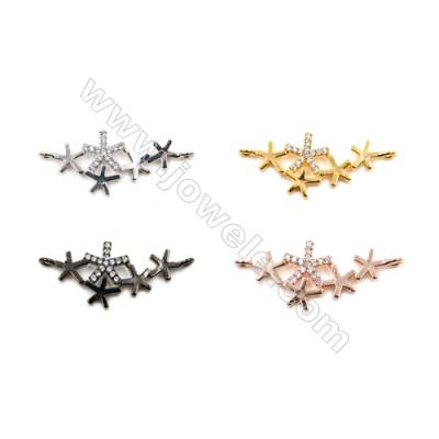 Brass Connectors, (Gold, Platinum, Rose Gold, Gun Black) Plated, Snow, CZ Micropave, Size 12x22mm, Hole 1.5mm, 20pcs/pack