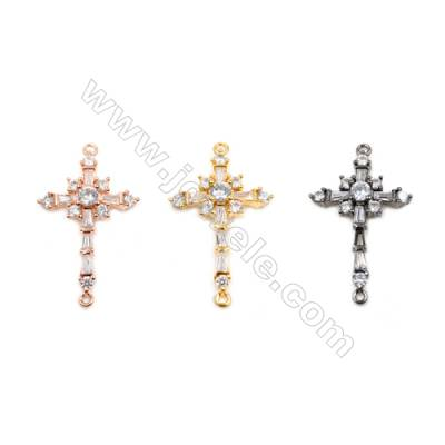 Brass Connectors, (Gold, Rose Gold, Gun Black) Plated, Cross, CZ Micropave, Size 20x29mm, Hole 1.5mm, 12pcs/pack