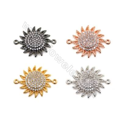 Brass Connectors, (Gold, Platinum, Rose Gold, Gun Black) Plated, Sun, CZ Micropave, Diameter 18mm, Hole 0.8mm, 12pcs/pack