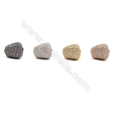 Brass Beads, (Gold, Platinum, Rose Gold, Gun Black)Plated, CZ Micropave, Beans, Size 15x18mm, Hole 2mm, 4pcs/pack