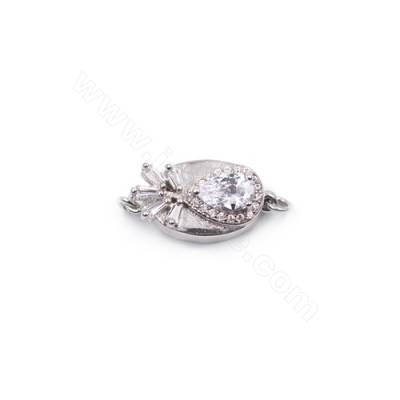 Wholesale zircon clasps platinum plated 925 sterling silver box clasp for jewelry making-841152 10x18mm x 1pc
