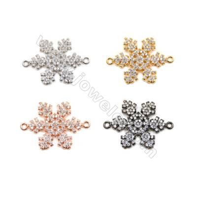 Brass Connectors, (Gold, Platinum, Rose Gold, Gun Black) Plated, Snow, CZ Micropave, Size 18x21mm, Hole 1.5mm, 8pcs/pack