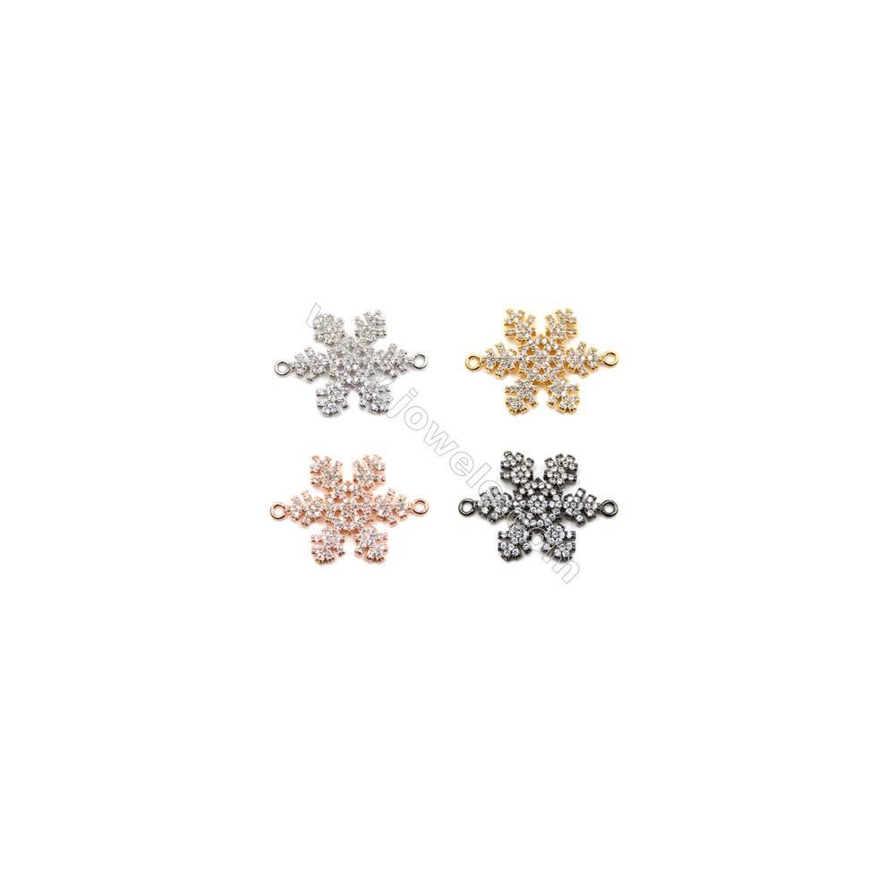 Brass Connectors, (Gold, Platinum, Rose Gold, Gun Black) Plated, Snow, CZ Micropave, Size 18x21mm, Hole 1.5mm, 8pcs/pack