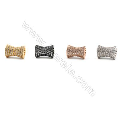 Brass Beads, (Gold, Platinum, Rose Gold, Gun Black)Plated, CZ Micropave, Column, Size 11x17mm, Hole 2mm, 5pcs/pack