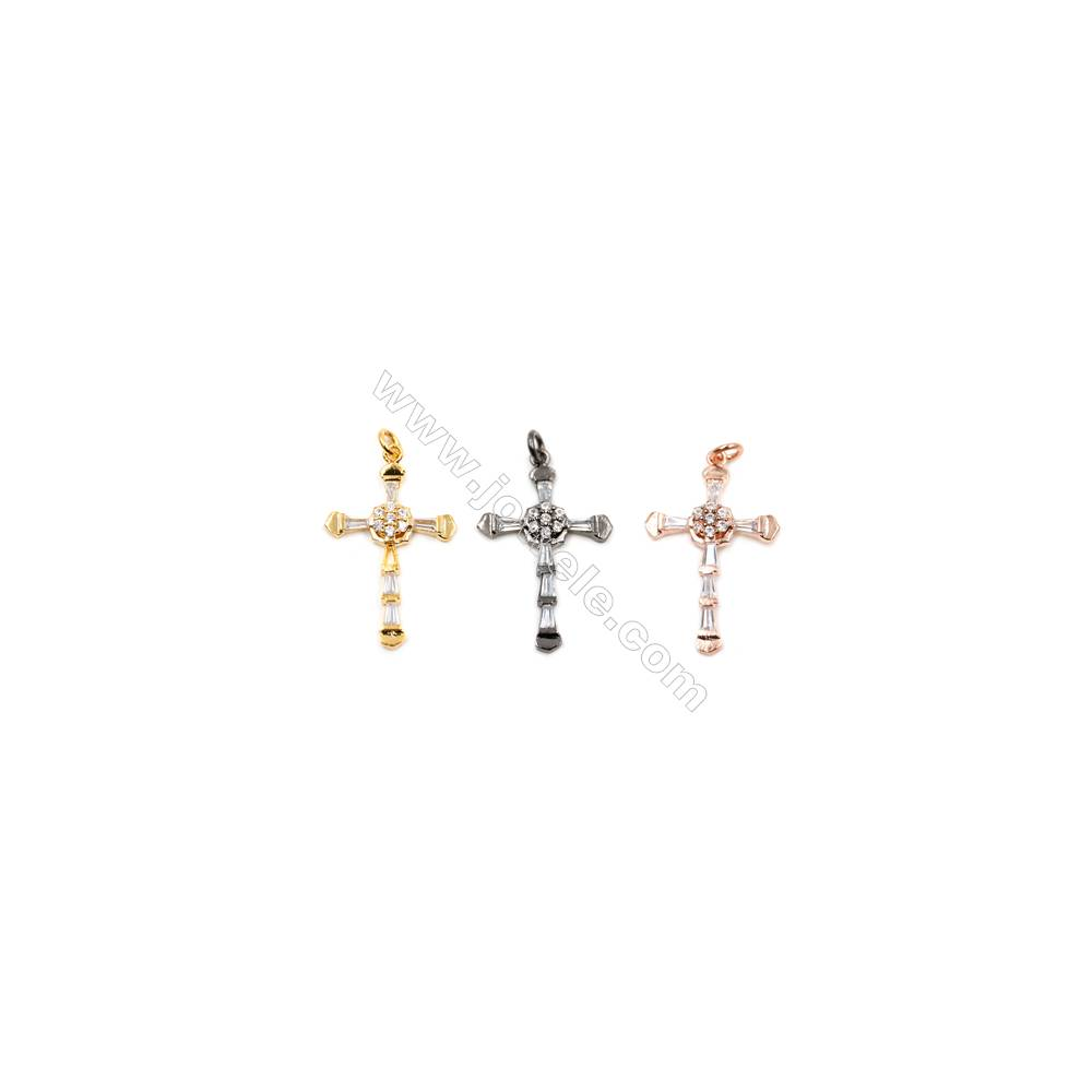 Brass Pendants  (Gold Platinum Rose Gold Gun Black)Plated  CZ Micropave  Cross  Size 28x19mm  12pcs/pack