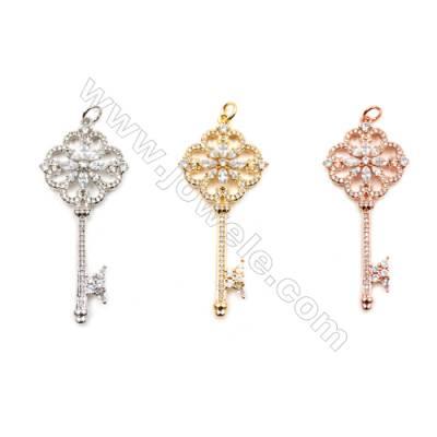 Brass Pendants  (Gold Platinum Rose Gold)Plated  CZ Micropave  Key  Size 23x54mm  5pcs/pack
