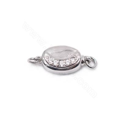 Wholesale zircon jewelry clasps platinum plated 925 sterling silver box clasp for pearl necklace making-841096 8x16mm x 1pc