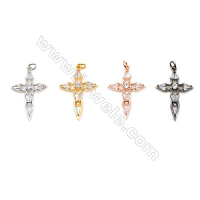 Brass Pendants  (Gold Platinum Rose Gold Gun Black)Plated  CZ Micropave  Cross  Size 28x20mm  10pcs/pack
