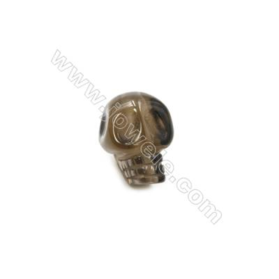 Smoky Quartz Single Beads  Skull  Size 9x12mm  Hole 1.5mm  10pcs/pack