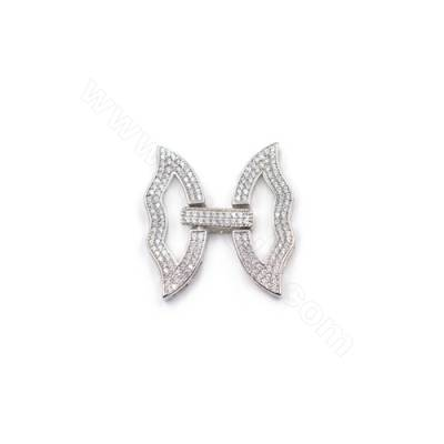 7 strands platinum plated 925 sterling silver zirconia micro pave butterfly connector clasp 24x25mm x 1pc