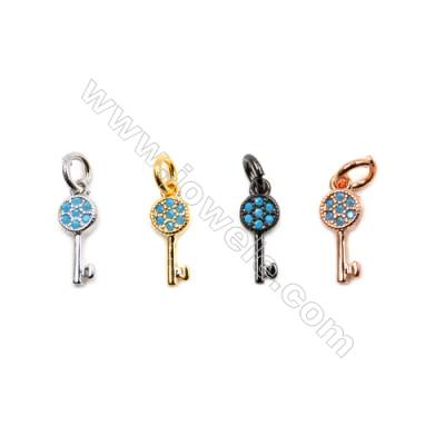 Brass Pendants  (Gold Platinum Rose Gold Gun Black)Plated  CZ Micropave  Key  Size 11x5mm  20pcs/pack
