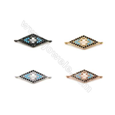 Brass Connectors, (Gold, Platinum, Rose Gold, Gun Black) Plated, Rhombus, CZ Micropave, Size 9x26mm, Hole 1mm, 10pcs/pack