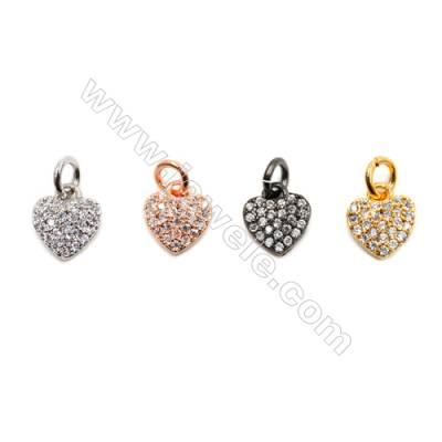 Brass Pendants  (Gold Platinum Rose Gold Gun Black)Plated  CZ Micropave  Heart  Size 7x8mm  20pcs/pack
