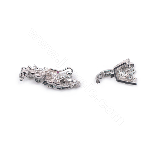 Zirconia micro pave clasp platinum plated 925 sterling silver clasp for pearl jewelry making 14x47mm x 1pc