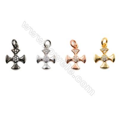 Brass Pendants  (Gold Platinum Rose Gold Gun Black)Plated  CZ Micropave  Cross  Size 10x12mm  20pcs/pack