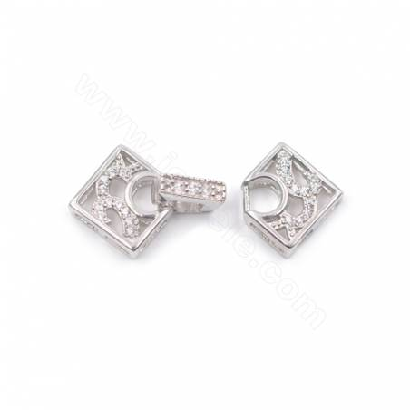 Platinum Plated 925 Sterling Silver Micro Pave Zirconia Clasps  Rhombus  23x12mm x 1pc