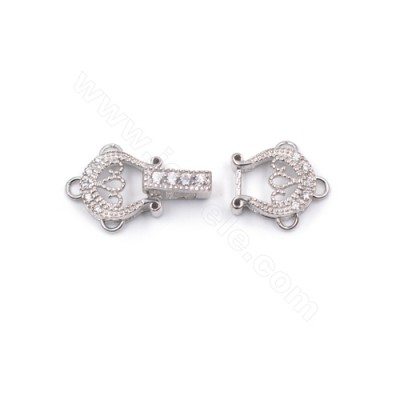 3 strand zirconia micro pave platinum plated genuine silver connector clasp for pearl jewelry 24x10mm x 1pc