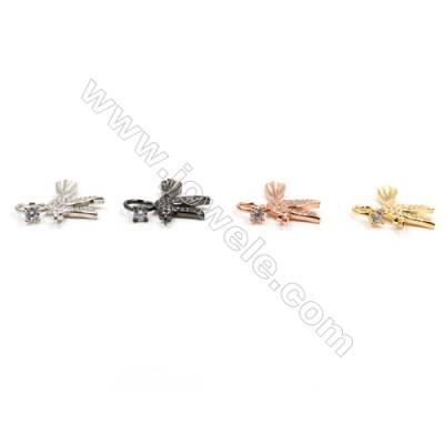 Brass Connectors, (Gold, Platinum, Rose Gold, Gun Black) Plated, Bird, CZ Micropave, Size 23x26mm, Hole 1.5mm, 12pcs/pack