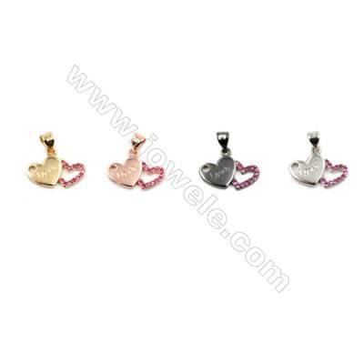 Brass Pendants  (Gold Platinum Rose Gold Gun Black)Plated  CZ Micropave  Heart  Size 17x10mm  20pcs/pack