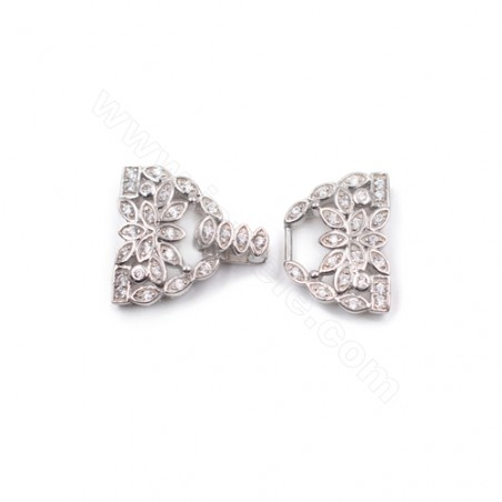Zircon micro pave necklace findings platinum plated 925 sterling silver Bow Tie clasp connector  14x21mm x 1pc